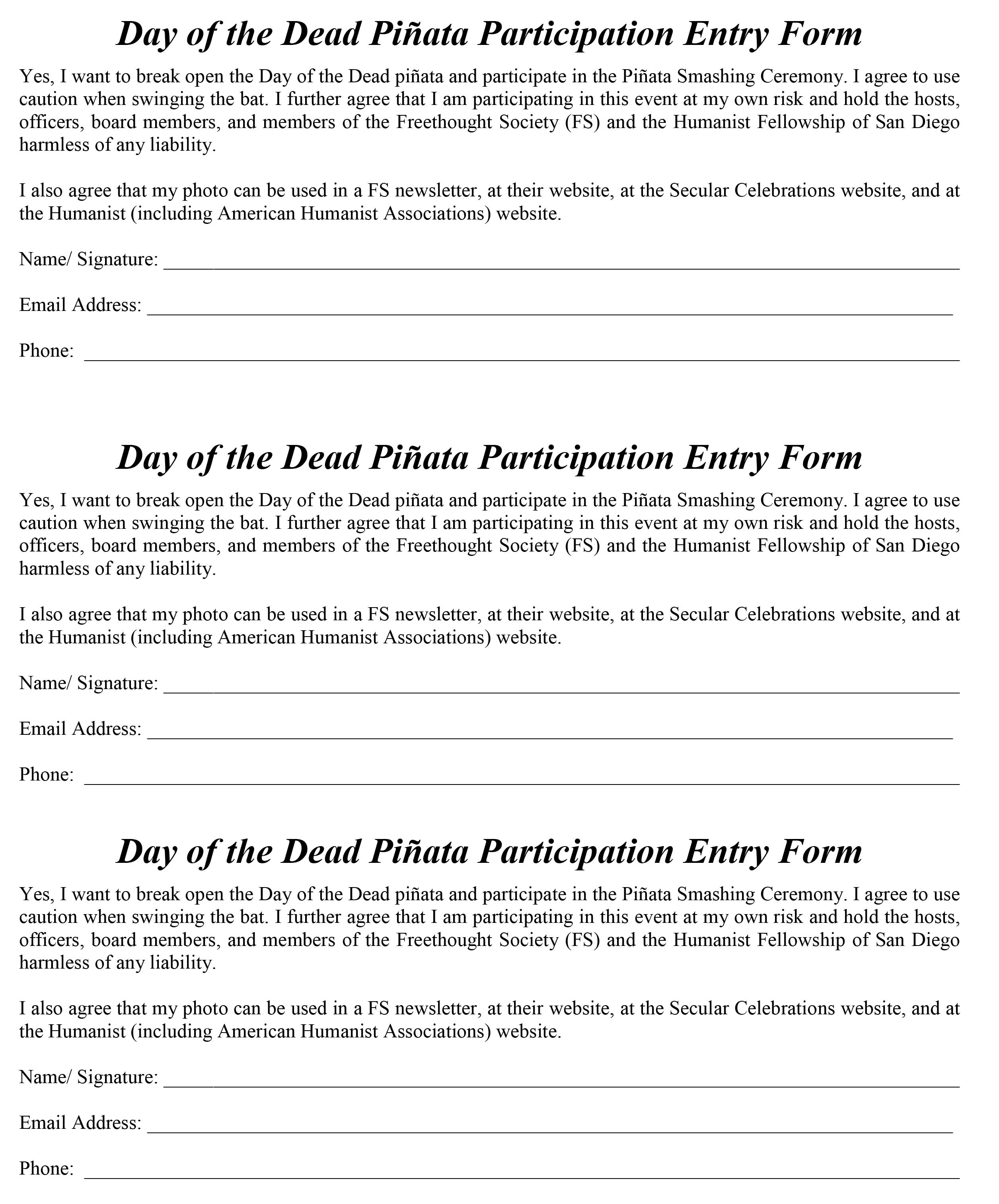 DOD pinata entry form